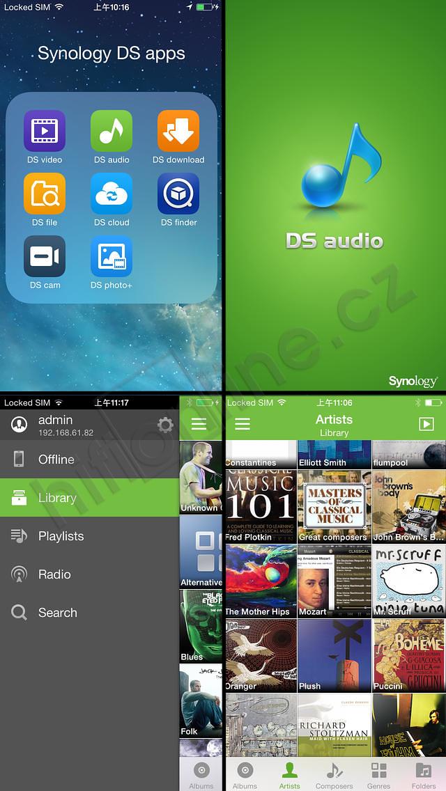 Synology NAS - DSAUDIO - ovládací grafické prostředí pro mobilní zařízení